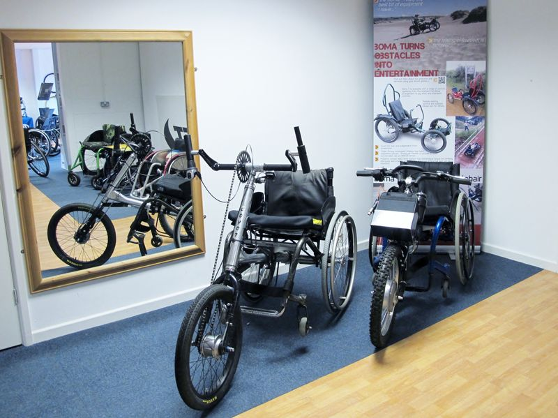 Draft Wheelchairs Clip On hand cycles in showroom